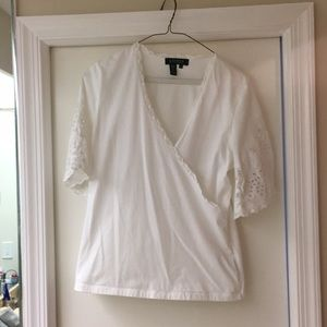 Ralph Lauren White Top with Embroidered Sleeves M